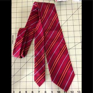 Burberry designer red striped silk tie